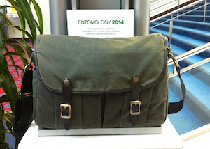The Filson Camera Field Bag doing service as a journalist bag at the Entomological Society 2014 convention.